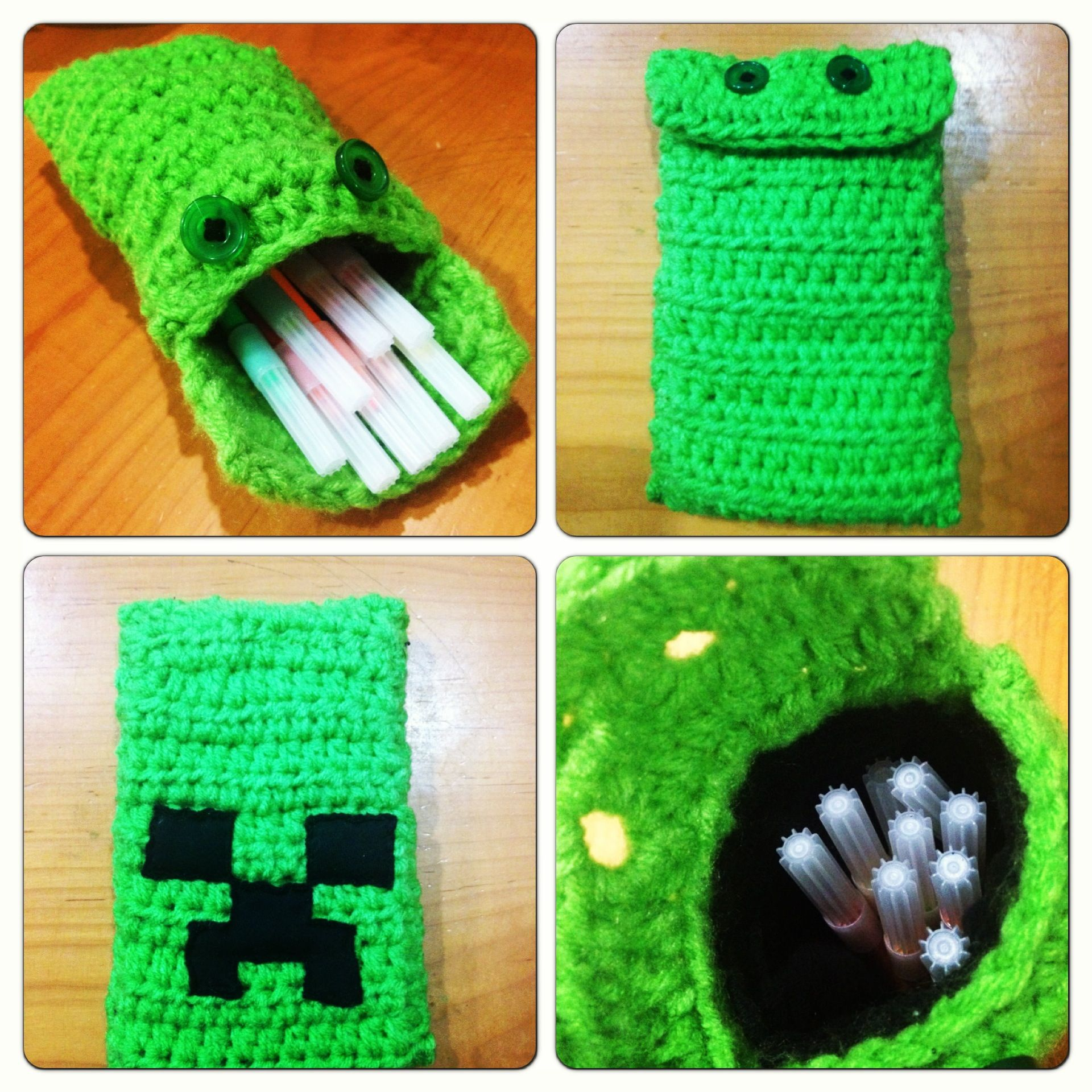 Minecraft creeper pencil case, crochet | Minecraft decorations ...
