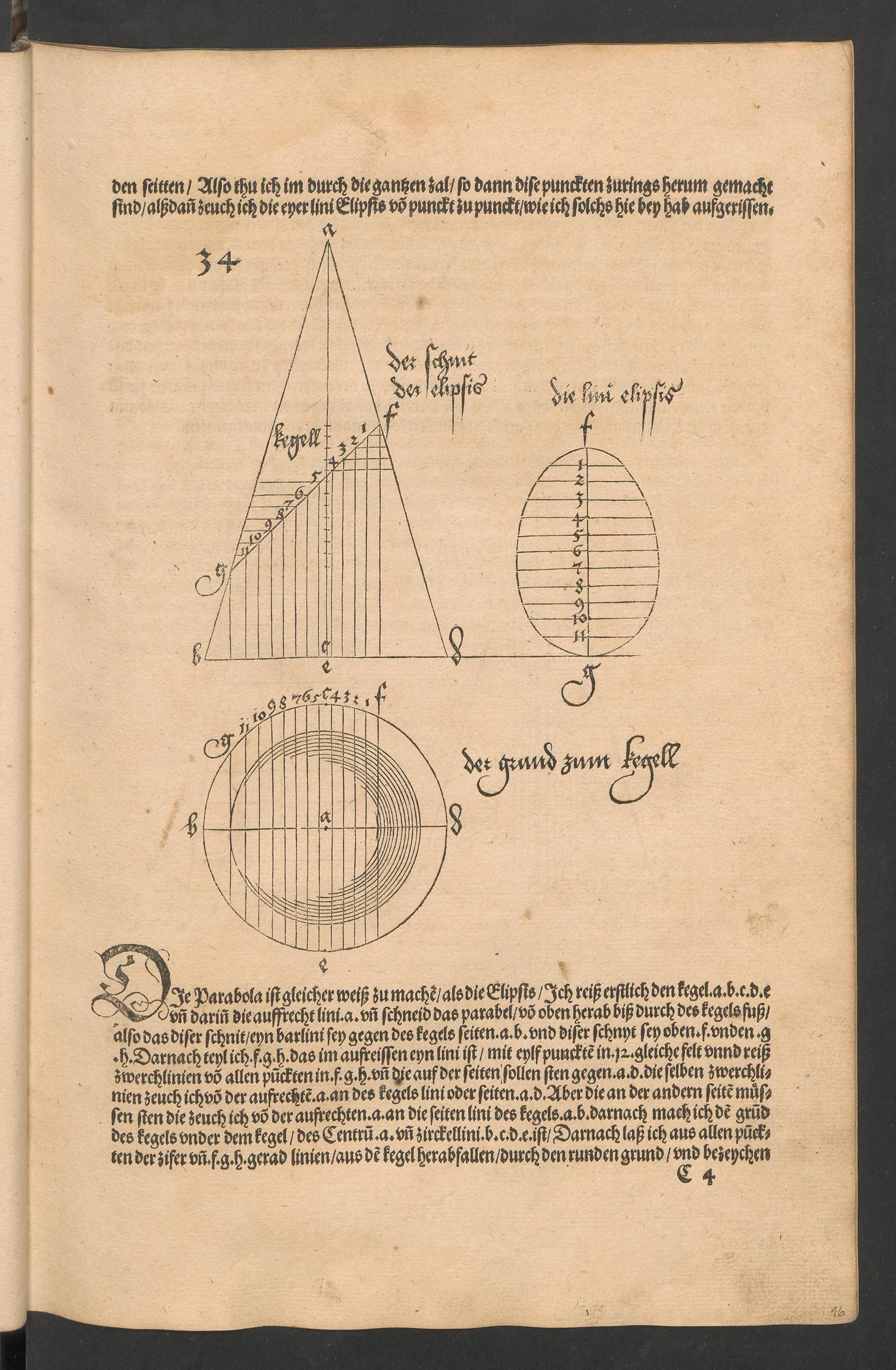 Durer_Underweisung der Messung, trace d'un cone de revolution par un plan_1525