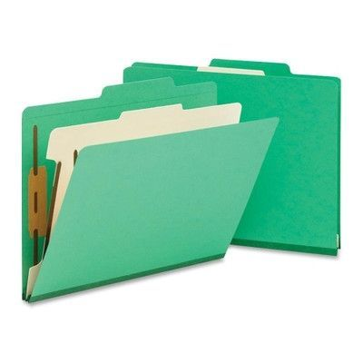 Smead One Divider Top Tab Classification Folder, Four-Section, 10/Box