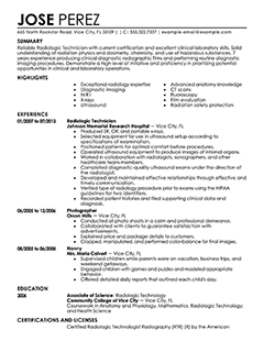 Technician Resume Radiology Technician Resume Example  Medical Sample Resumes