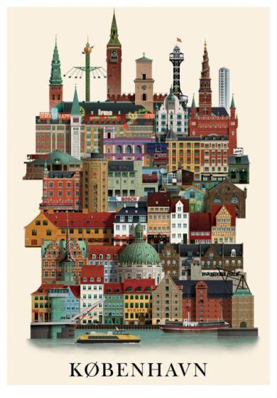 Martin Schwartz Kobenhavner Plakat 50x70 Plakater Rejseplakat Vintage Plakater