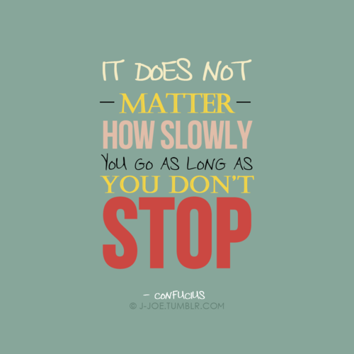 """It Does Not Matter How Slow You Go So Long As You Do Not"