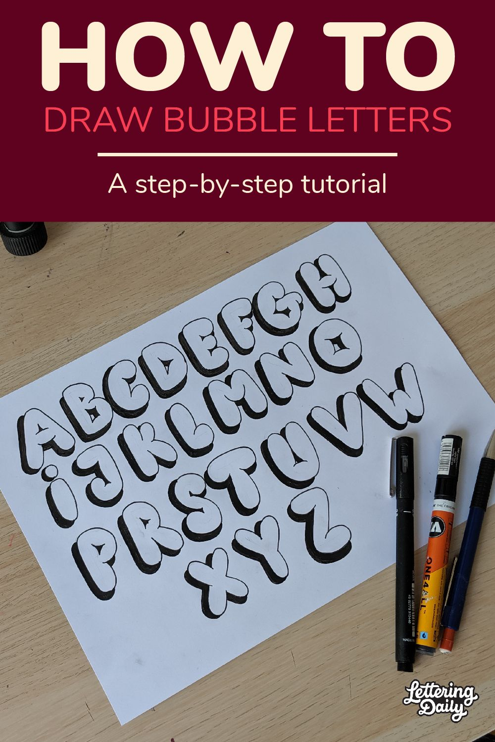 How To Draw Bubble Letters Step By Step Tutorial (2020
