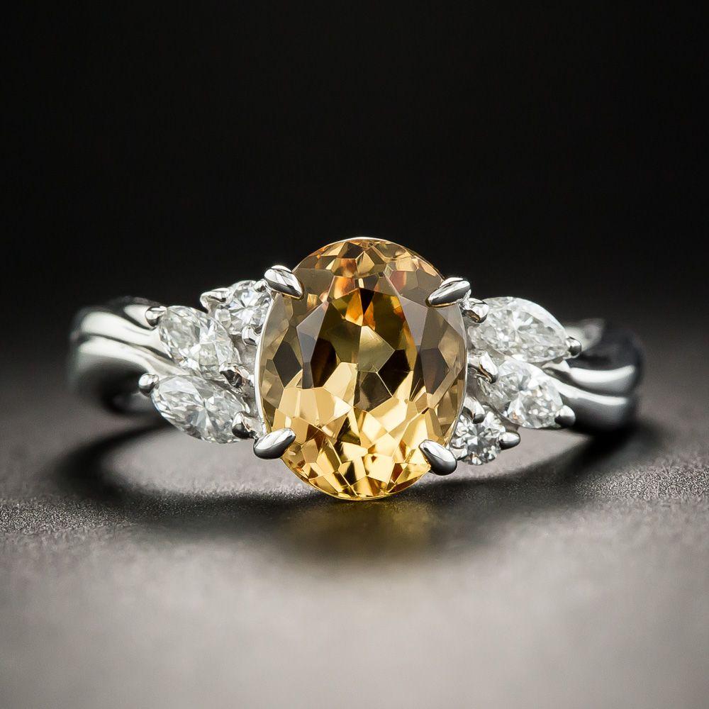 381fa754d4f Imperial Topaz Diamond Platinum Ring in 2019