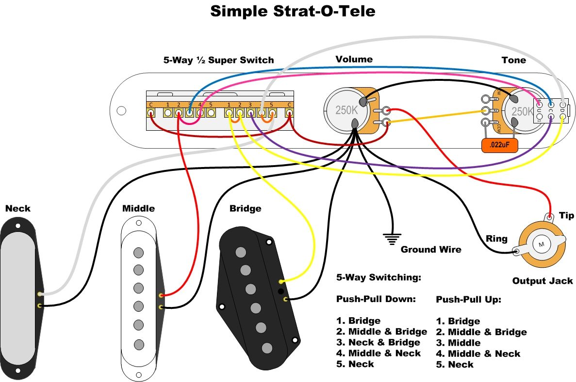 Simple Strat-O-Tele for Tele - Wiring Diagram | Guitar wiring ... on fender deluxe wiring diagram, mexican strat wiring diagram, gibson les paul wiring diagram, fender blues junior wiring diagram, fender amplifier wiring diagram, starcaster by fender wiring diagram, squier strat wiring diagram, fender musicmaster wiring diagram, ernie ball wiring diagram, dean ml wiring diagram, gibson sg wiring diagram, fender princeton wiring diagram, fender marauder wiring diagram, fender hm strat wiring diagram, fender telecaster wiring diagram, strat bridge tone control wiring diagram, fender lead ii wiring diagram, fender champ wiring diagram, vintage strat wiring diagram, standard strat wiring diagram,