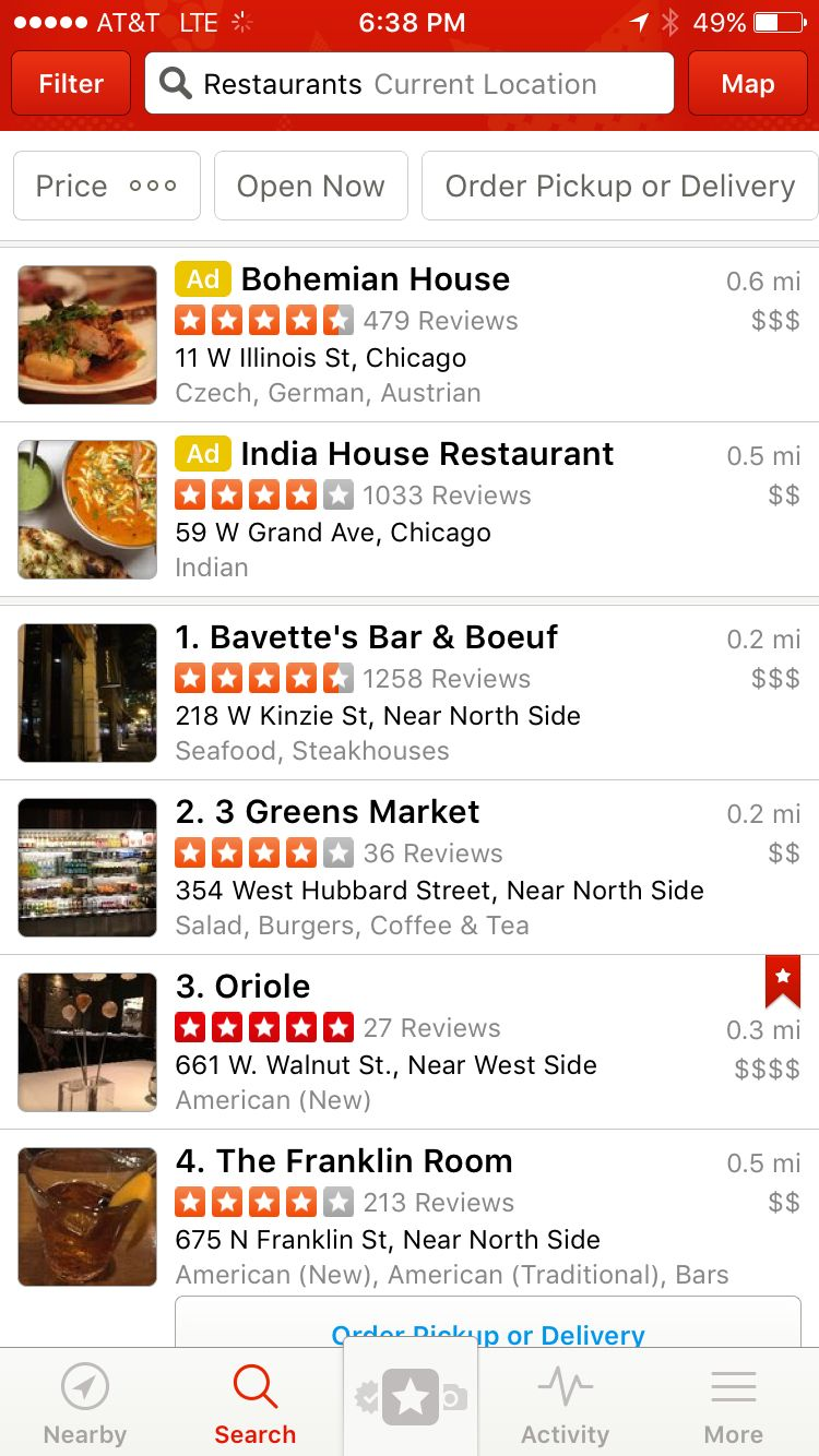 Restaurant reviews yelp - Yelp Restaurant Search Results Screen
