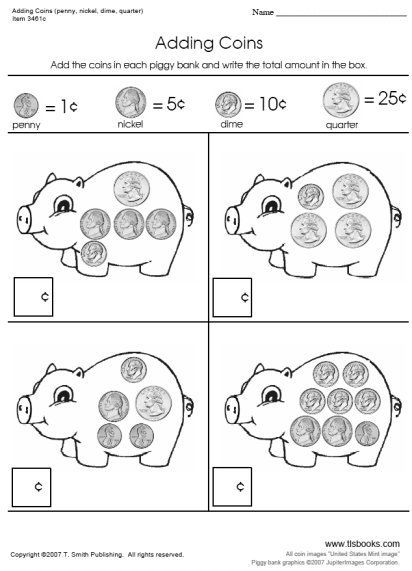 Adding Coins Worksheets - On the first worksheet in this set your ...