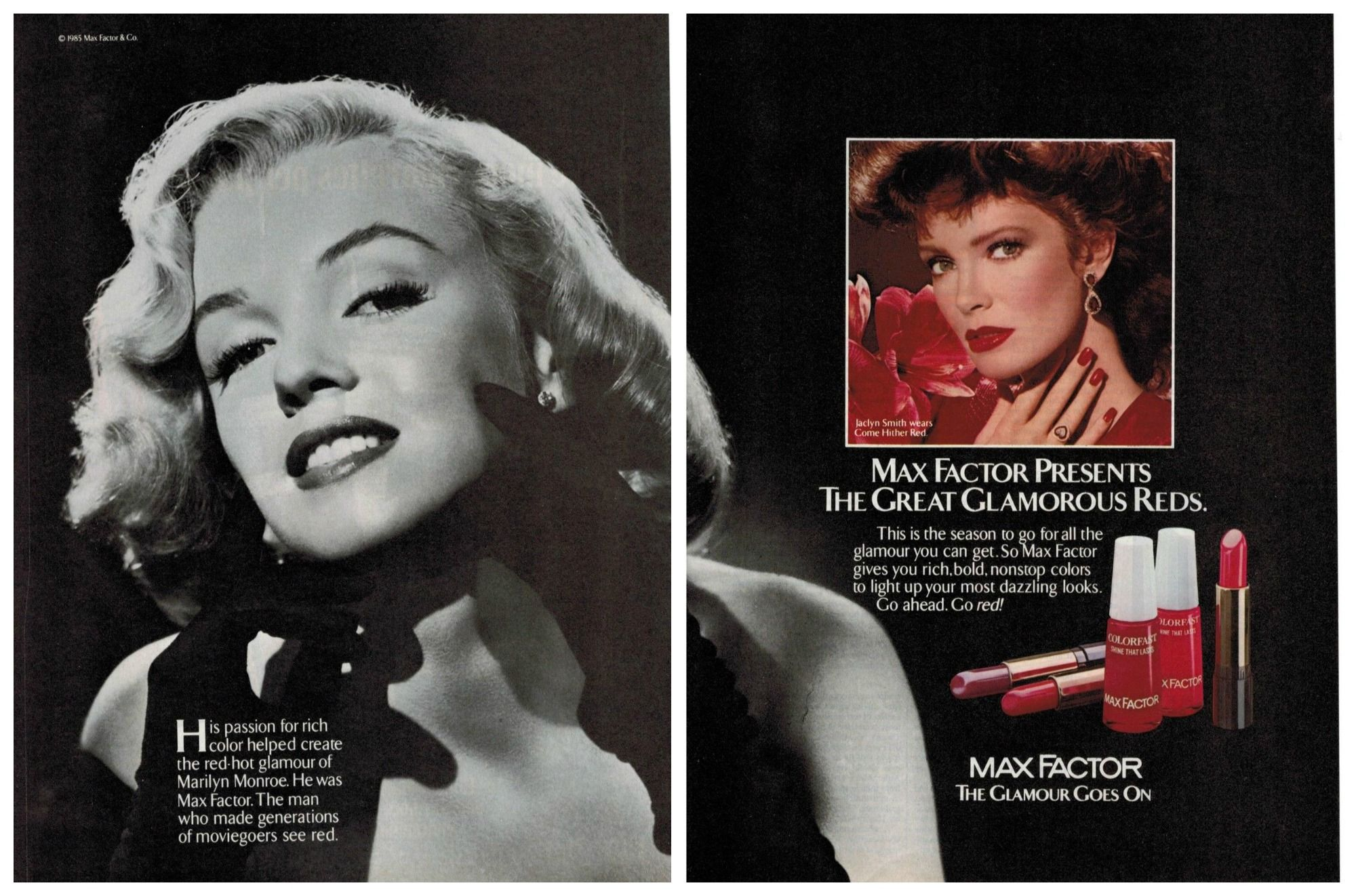 1985 Max Factor ad with JACLYN SMITH