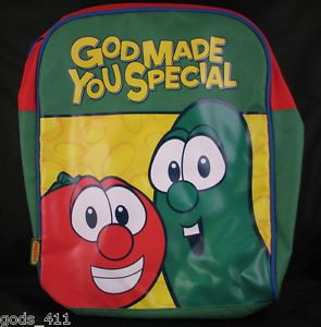 Backpack Veggie Tales God Made You Special Bob Larry Green Red Yellow http://stores.ebay.com/Gods-411