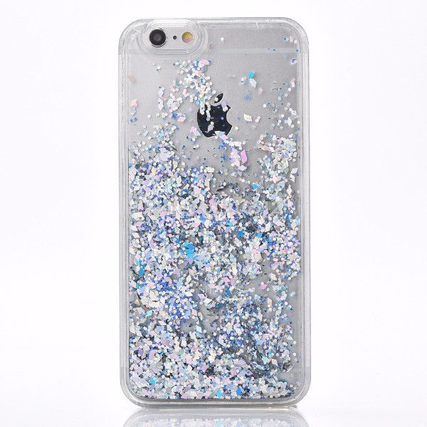 Silver Pink & Blue Confetti Cascading Glitter Case for iPhone 5 5S SE 6S 6 Plus
