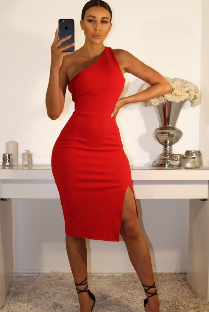 Red One Shoulder Midi Dress Classy Outfits Classy Dress Short Dresses