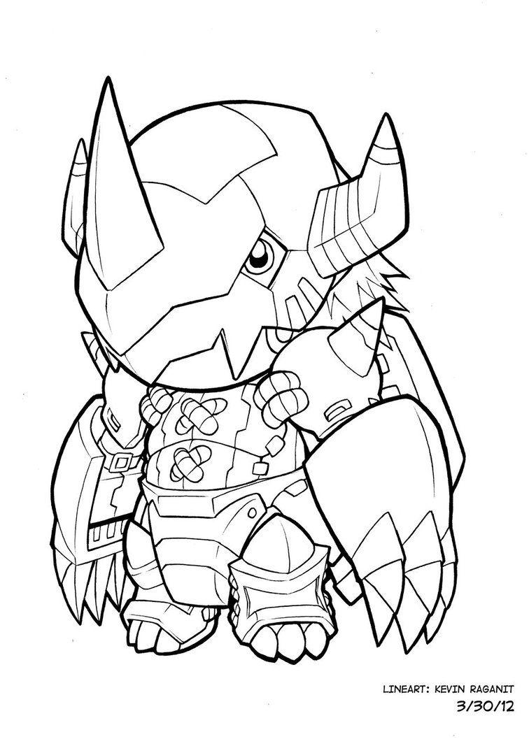 Color Me Wargreymon Chibi By Kevinraganit Chibi Digimon Crests Digimon