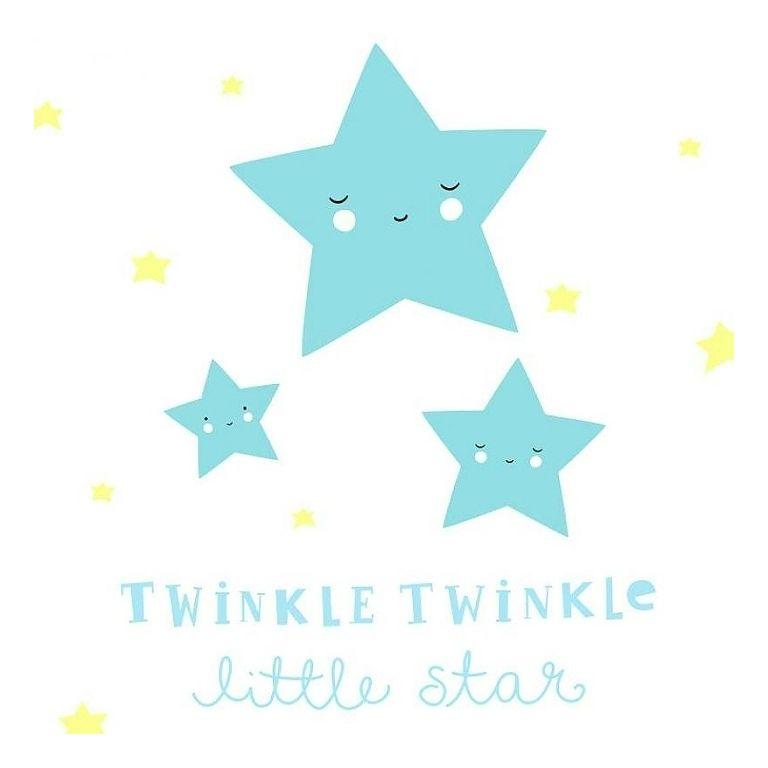Inspirational Wandsticker uTwinkle Twinkle Little Star u aquablau gelb