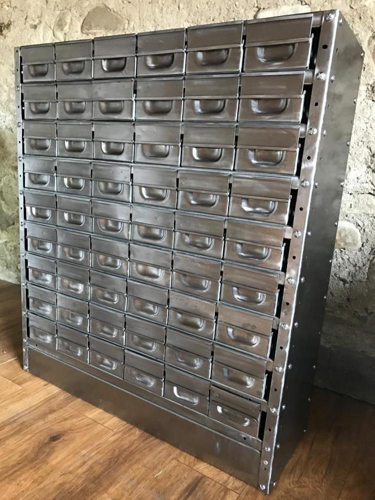 Vintage Industrial Stripped Metal 54 Drawer Cabinet Engineers Drawers Ebay Vintage Industrial Furniture Vintage Industrial Industrial Style Furniture