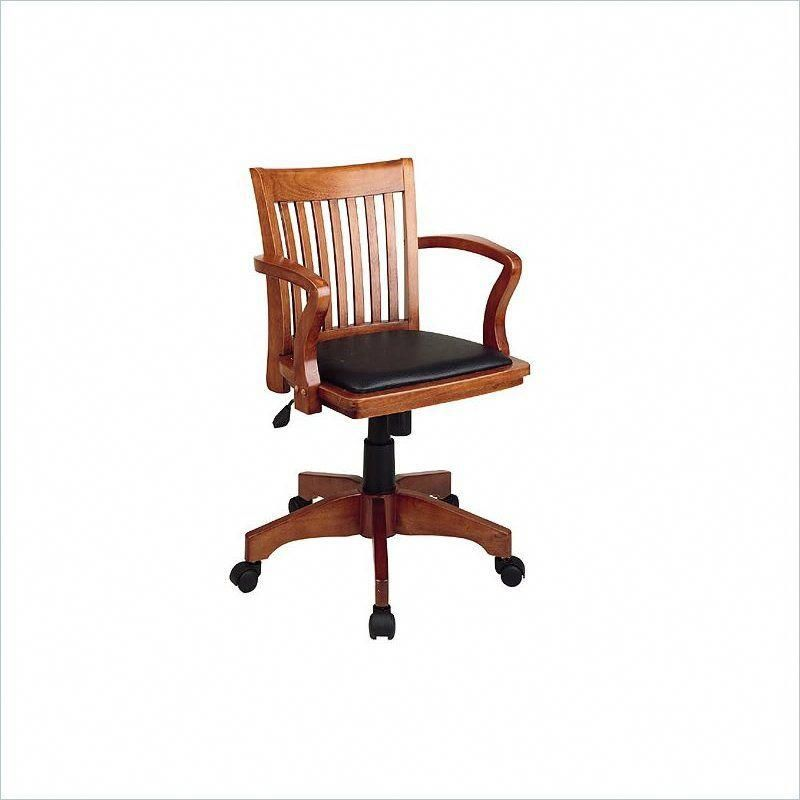 Office Star   Deluxe Wood Bankers Chair With Vinyl Padded Seat In Fruitwood  Finish #cheapdeskchairs
