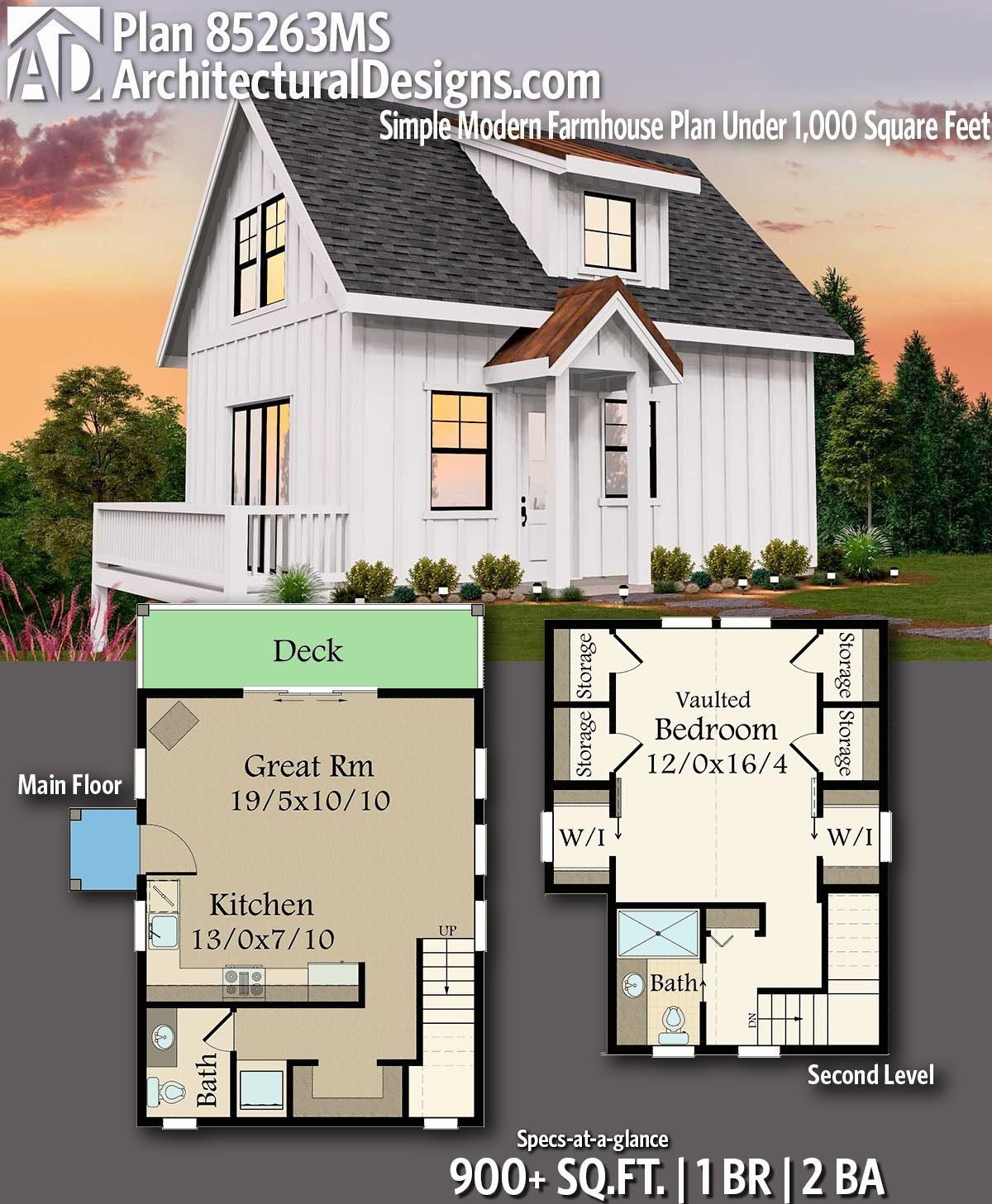 Plan 85263ms Simple Modern Farmhouse Plan Under 1 000 Square Feet Modern Farmhouse Plans House Plans Farmhouse Cottage House Plans