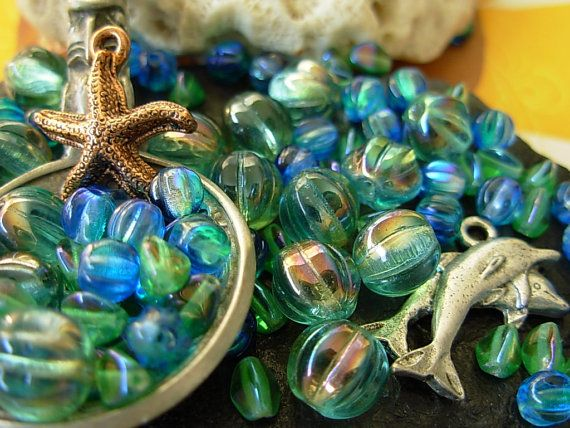 Assorted Bead and Charm Lot Starfish Dolphin Melon by KentOBead, $7.95