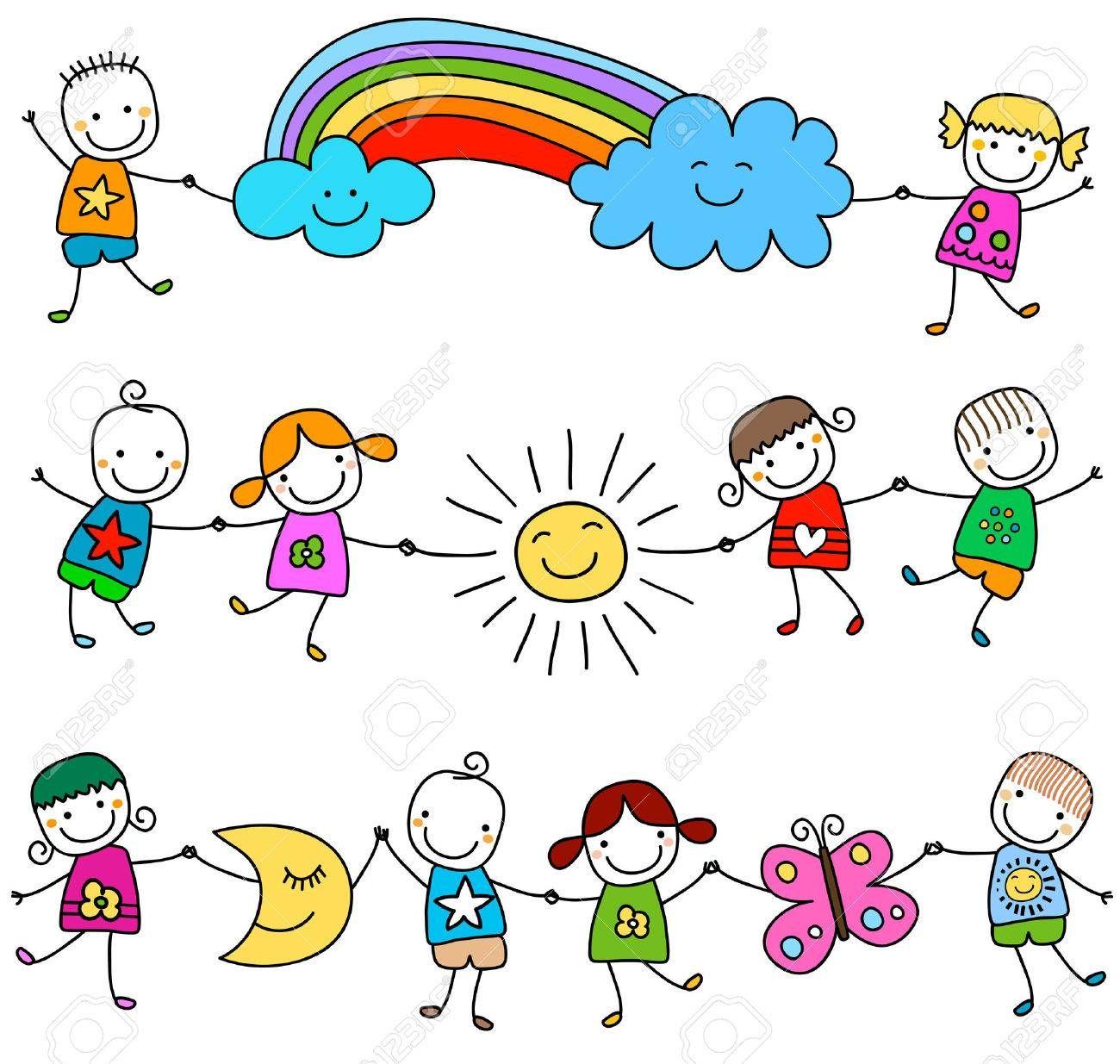 Enfants Heureux Jouant Clip Art Libres De Droits Vecteurs Et Illustration Image 39018691 En 2020 Facile A Dessiner Enfant Heureux Dessin Enfant