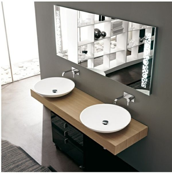 Salle-de-bain-moderne-double-lavabo-rond-porcelaine.jpg 600 × 603 ... Modernes Badezimmer Designer Badspiegel