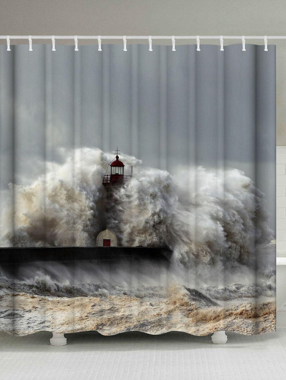 Waterproof Fabric Surge Lighthouse Shower Curtain