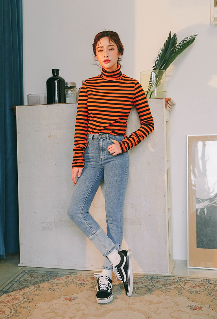 9d0c6ed3328 Two-Tone Striped Turtleneck T-Shirt