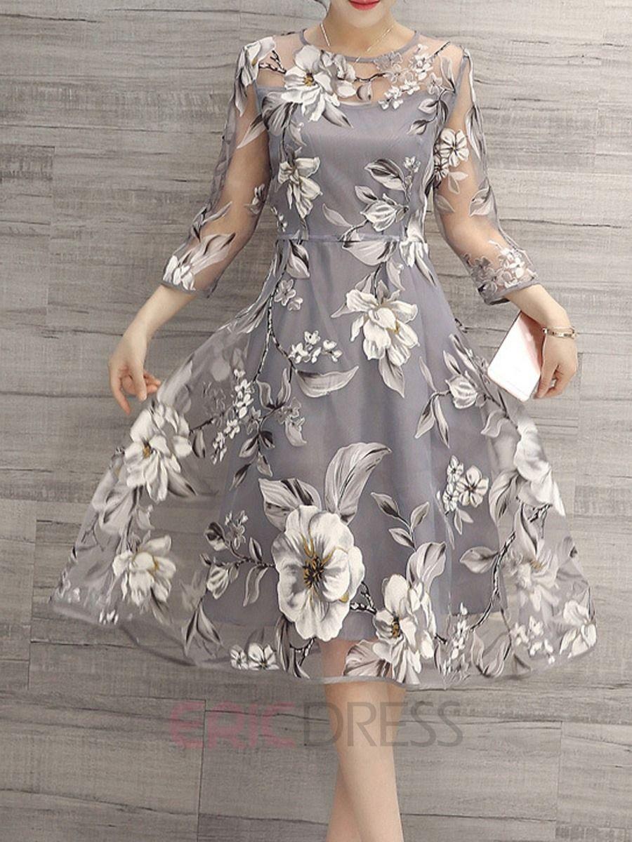 Flower Print Three Quarter Sleeve Expansion Casual Dress Elegant Floral Dress Floral Print Dress Casual Dresses [ 1200 x 900 Pixel ]