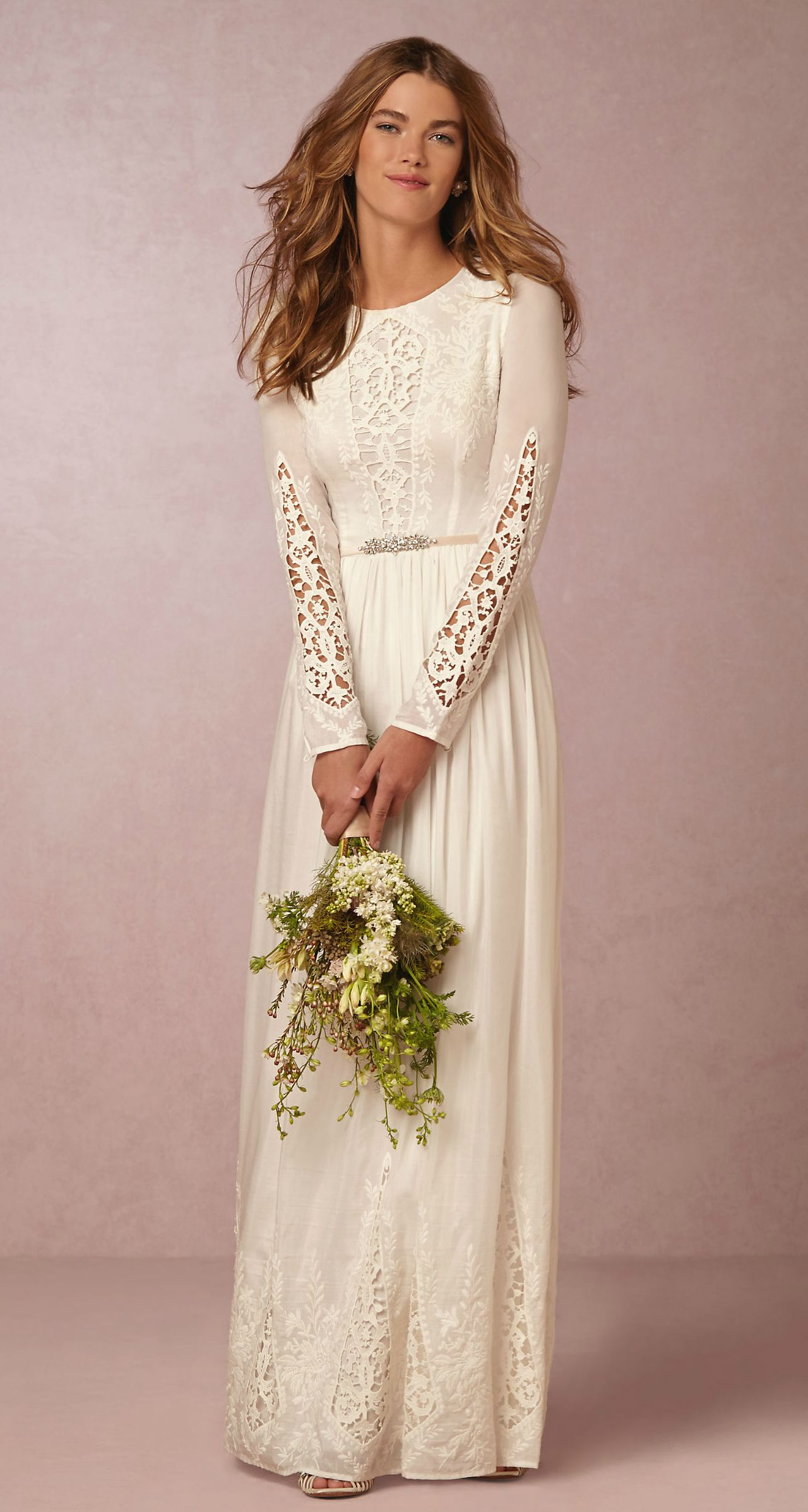 Long sleeve wedding dress for a beach or boho wedding style | McKenna dress from BHLDN