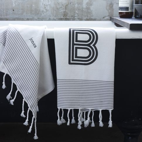Love These Monogrammed Striped Edge Hand Towels From West Elm - Monogrammed hand towels for small bathroom ideas