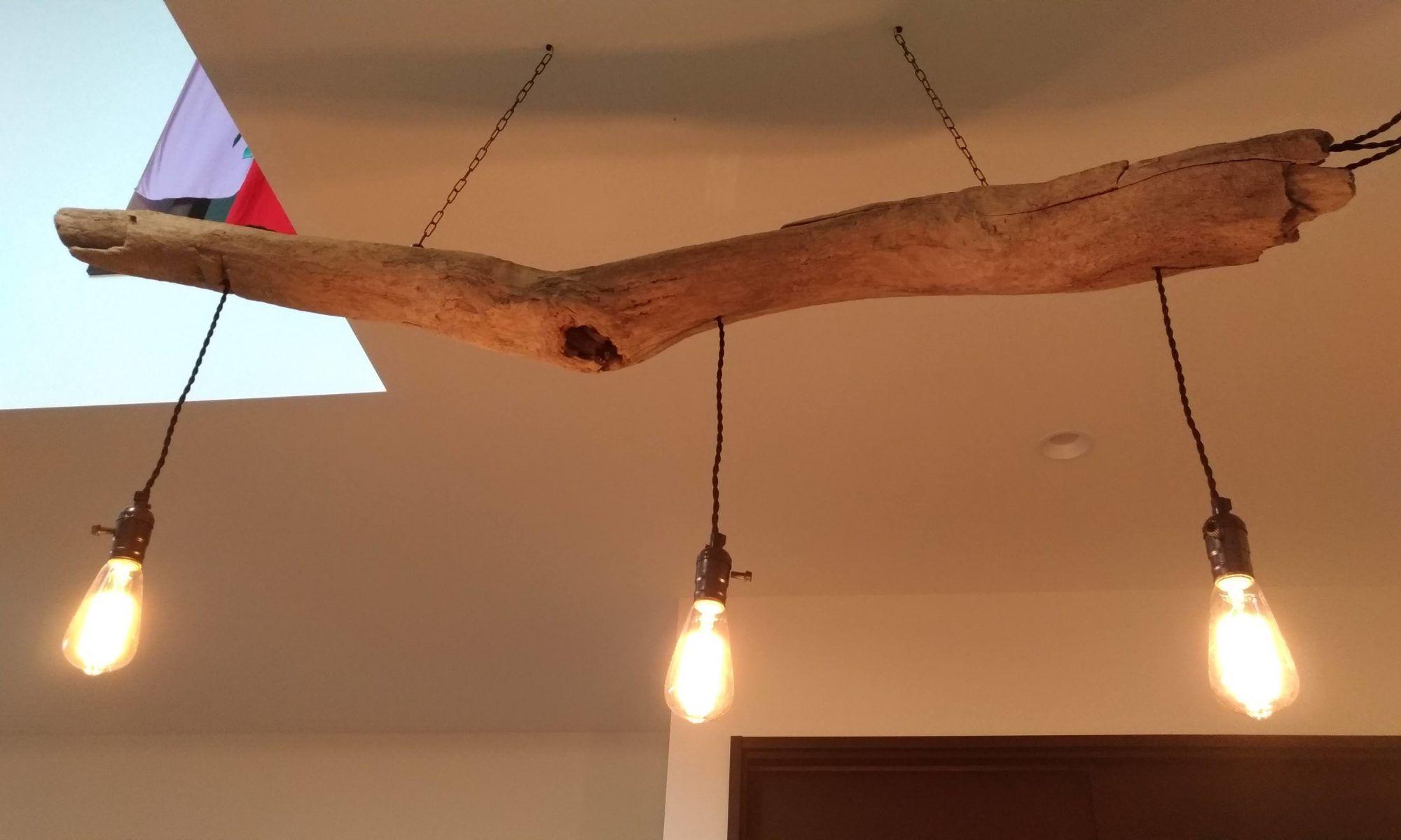 ダイニング照明を流木でdiy 流木照明 照明 ダイニング 照明