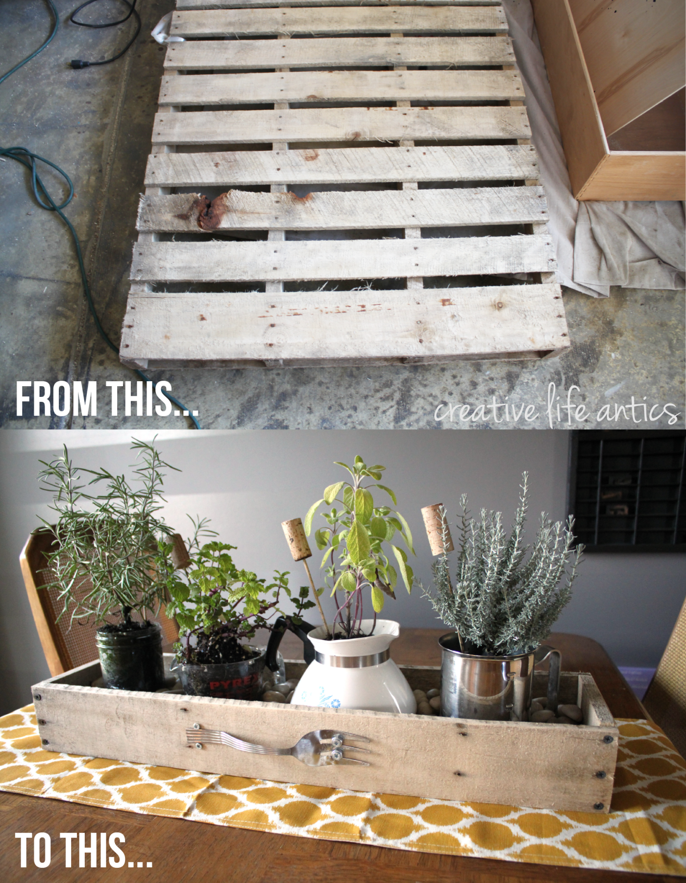 Kitchen Herb Planter from an old pallet! Great Idea. // Creative Life Antics