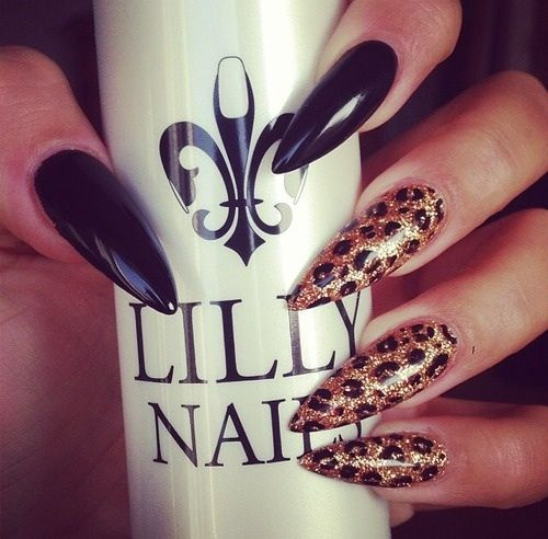 Funky Black Claws With Cheetah Bling