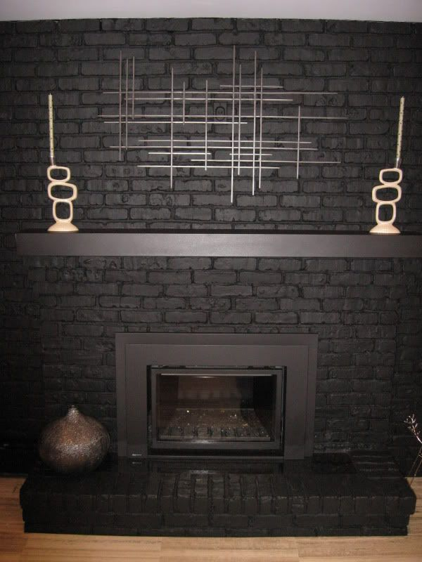 Painted Black Brick Fireplace | Black brick fireplace, Black brick ...
