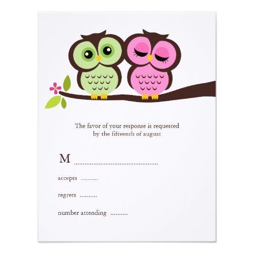 owl wedding invitations green and pink owls wedding card