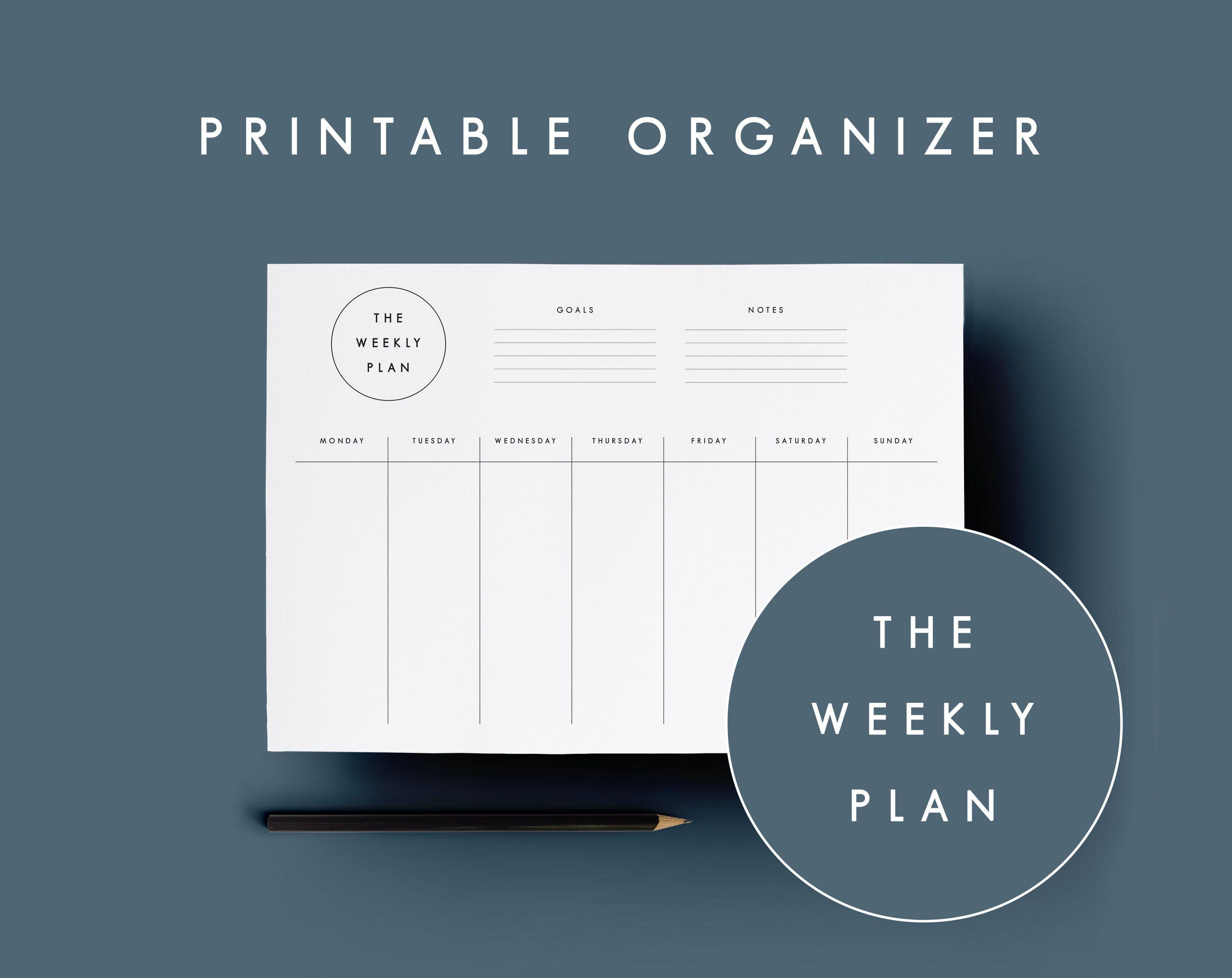 Minimalist Weekly Planner Printable Stylish Design