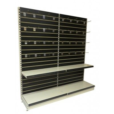Retail Shelving Wall Free Standing Display Slatwall Two Units With Cream Metal
