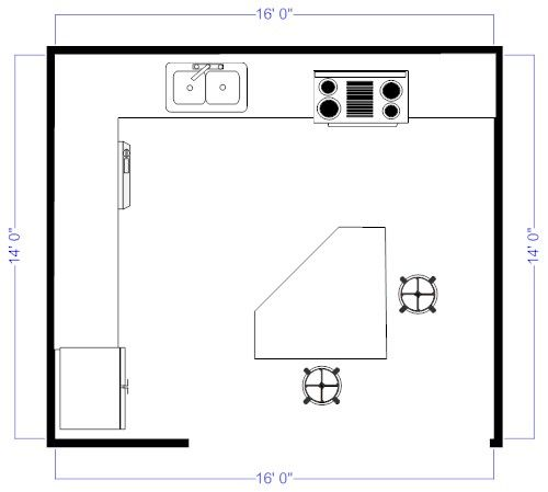 Island kitchen floor plan for the home pinterest for Kitchen floor plans