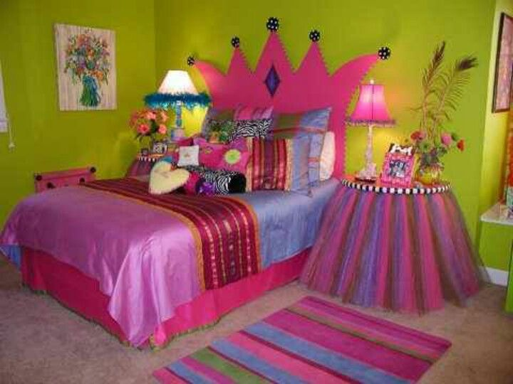 Love The Crown Headboard Not To Mention The Vivid Green Pink Purple Periwinkle And Black And Whit Princess Theme Bedroom Kid Room Decor Girl Bedroom Decor