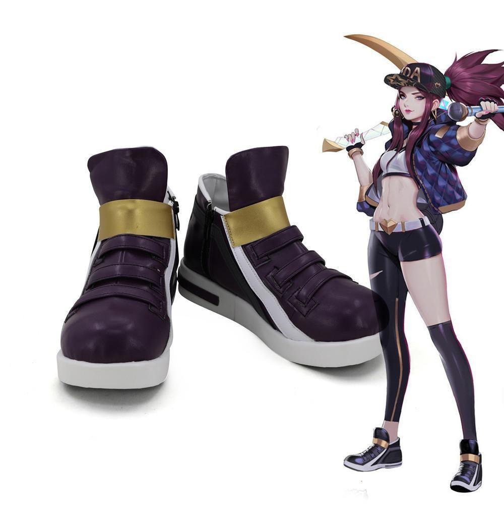 League of Legends LOL KDA Akali Shoes K//DA Akali Cosplay Purple Boots Comic Con