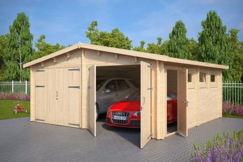 Wooden Double Garage E With Double Doors 44mm 5 5 X 5 7 M Summer House 24 In 2020 Double Garage Double Doors Wooden Garage