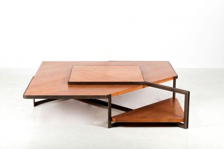 Grande Table Basse A Structure Geometrique Asymetrique Bois Et Acier Annees 50 Table Basse Fabriquer Une Table Basse En Bois Grande Table Basse