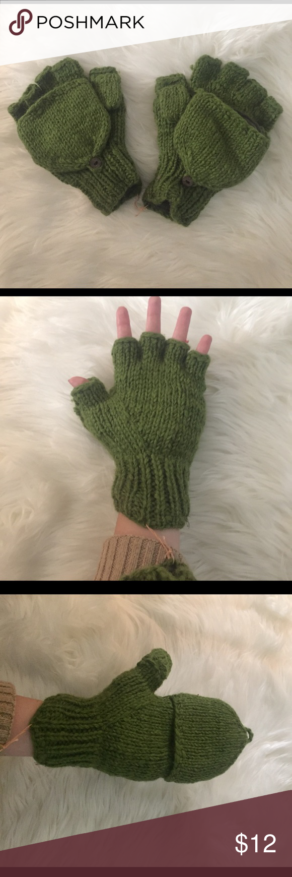 Never Worn Convertible Gloves Green knit 100% wool fingerless gloves that convert to mittens. The fleece insides make this extremely warm and perfect for winter! Accessories Gloves & Mittens