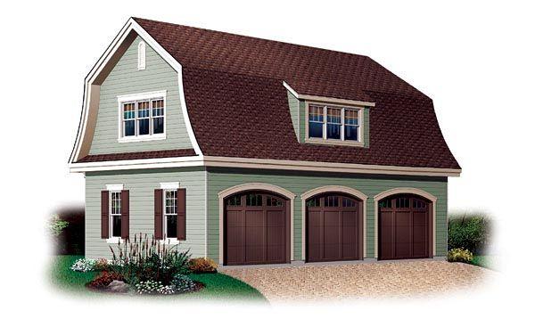 3 Car Garage Plan Number 64821 Gambrel Roof Garage Apartment Plans Garage Plans With Loft