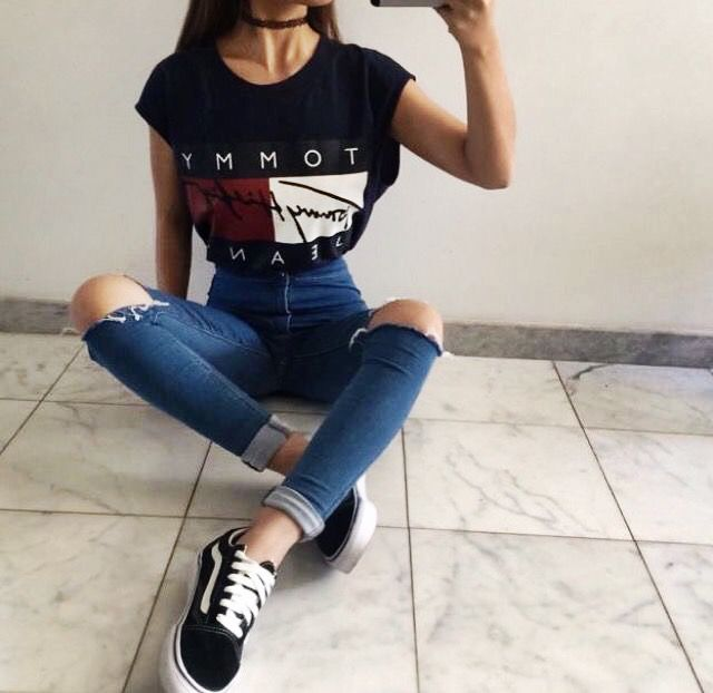 Tommy Hilfiger t shirt outfit model Instagram