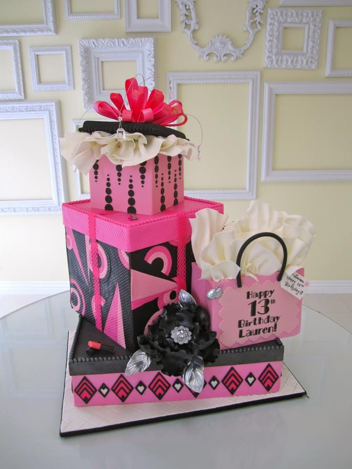 What a beautiful 13th Birthday Cake by A Wish and a Whisk Cakes