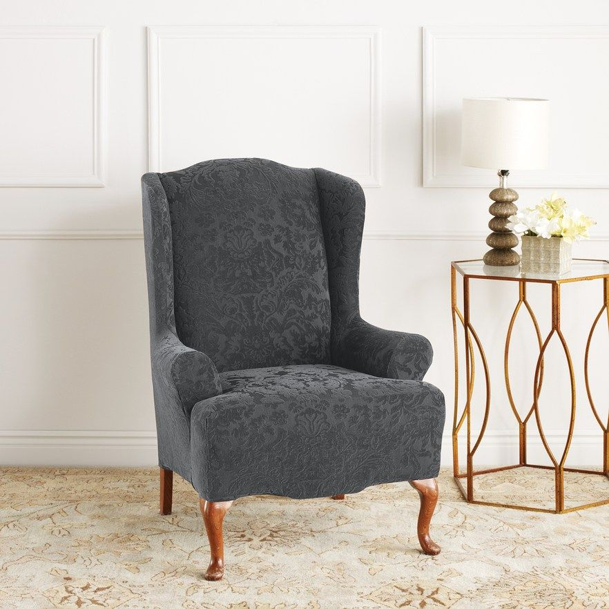 Sure Fit Stretch Jacquard Damask Wing Chair Slipcover Slipcovers