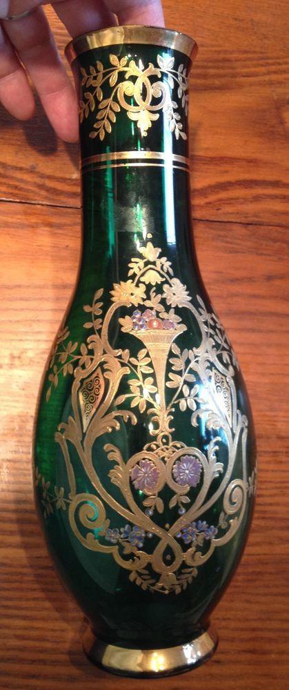 Art Nouveau Bohemian Glass Vase Gold Trim Price Reduced 25 To