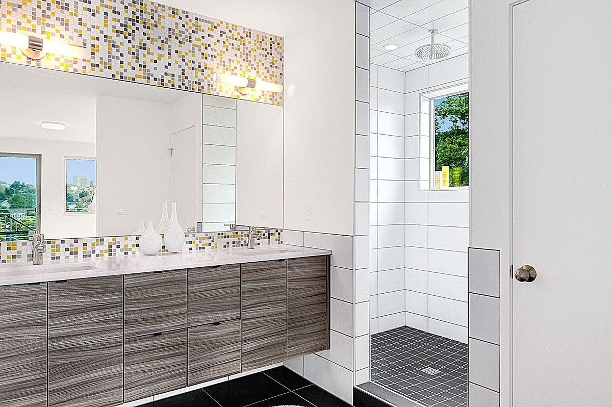 White glass subway tile with mosaic in bathtub shower google search also