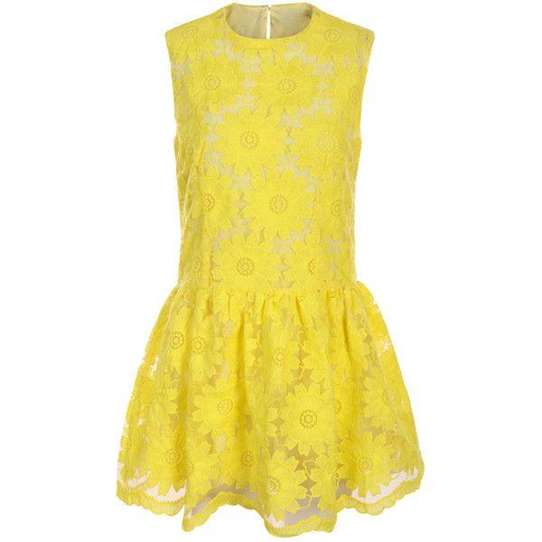 Flouncing Sleeveless Yellow Dress ($100) ❤ liked on Polyvore