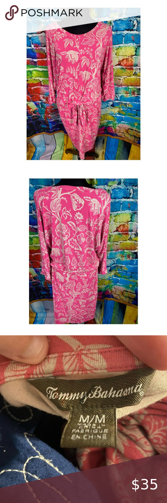 Tommy Bahama Floral Pink Dress M Tommy Bahama Floral Pink Dress Super Cute With Bow Front And Waisted In Great Pink Floral Dress Tommy Bahama Dress Pink Dress