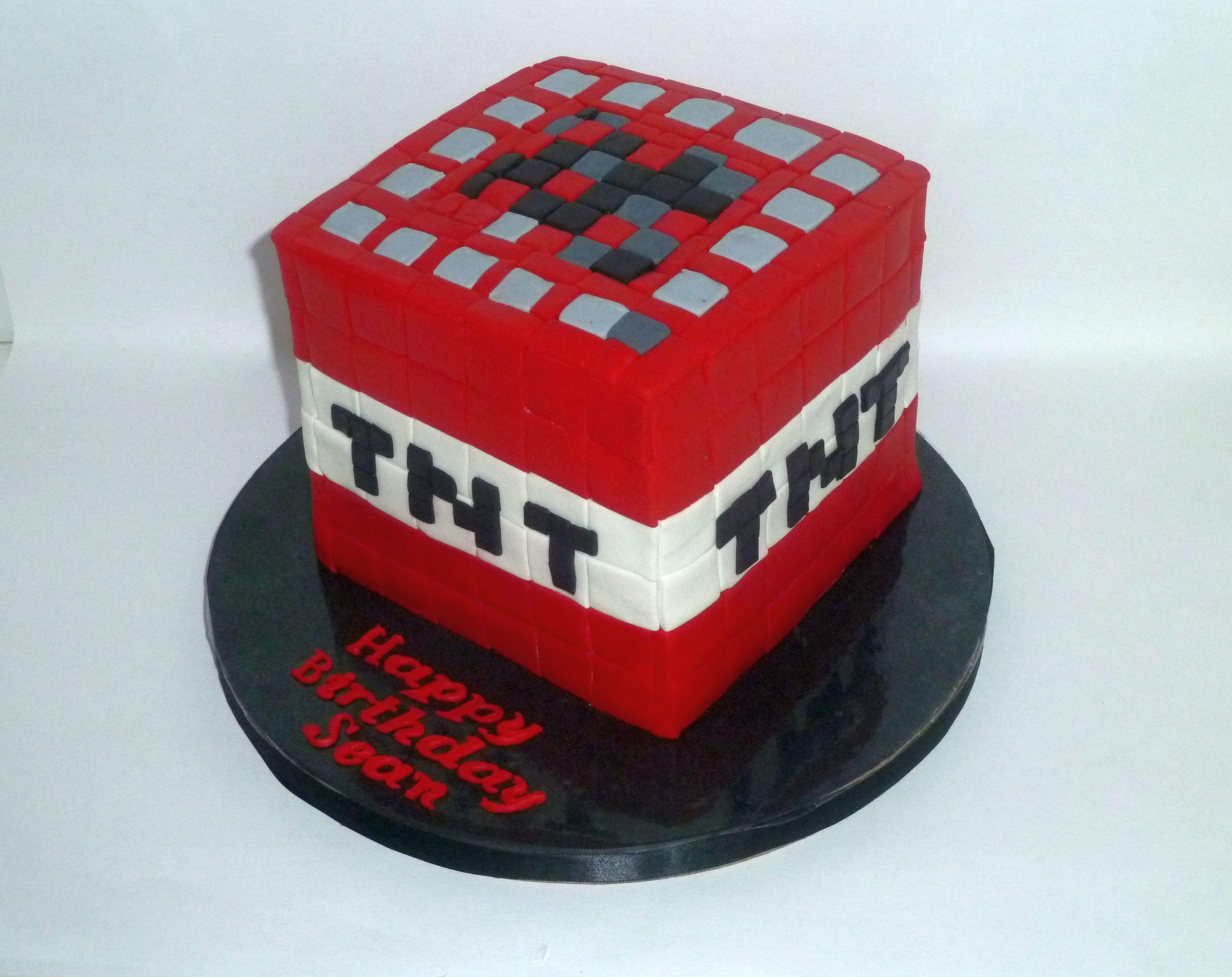 Minecraft Birthday Cake Minecraft Tnt Birthday Cakes Party On